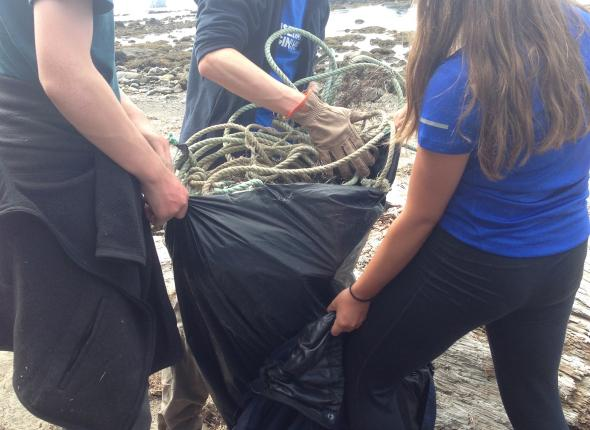 The crew backpacked along the coast, picking up marine debris as they went.